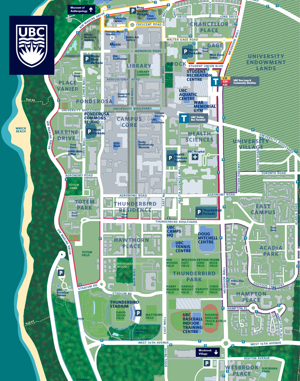 Map Of Ubc Map & Locations | UBC Sport Facilities